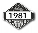 VIntage Edition 1981 Classic Retro Cafe Racer Design External Vinyl Car Motorcyle Sticker 85x70mm